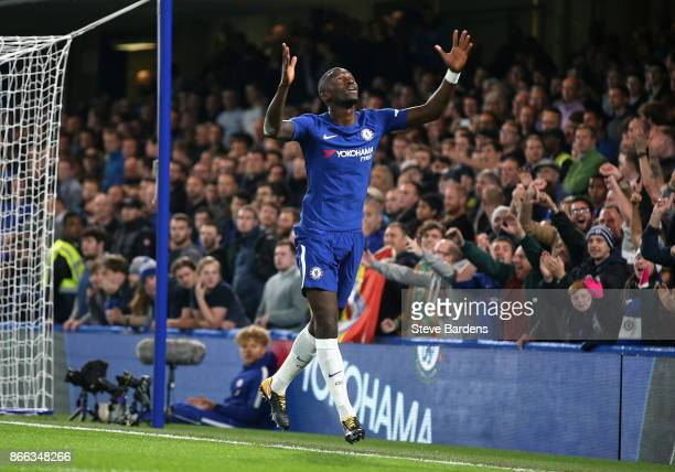 Antonio Rudiger of Chelsea celebrates scoring his sides first goal during the Carabao Cup Fourth Round match between Chelsea and Everton at Stamford...