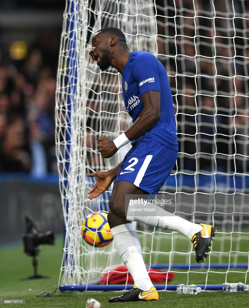 Antonio Rudiger of Chelsea celebrates scoring the first goal during the Premier League match between Chelsea and Stoke City at Stamford Bridge on December 30, 2017 in London, England.