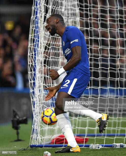 Antonio Rudiger of Chelsea celebrates scoring the first goal during the Premier League match between Chelsea and Stoke City at Stamford Bridge on...