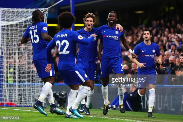 Antonio Rudiger of Chelsea celebrates scoring the opening goal during the Premier League match between Chelsea and Stoke City at Stamford Bridge on...