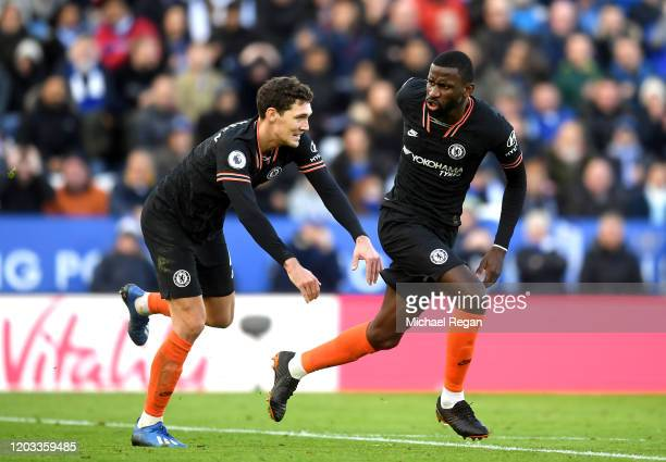 Antonio Rudiger of Chelsea celebrates with Andreas Christensen after scoring his team's second goal during the Premier League match between Leicester...