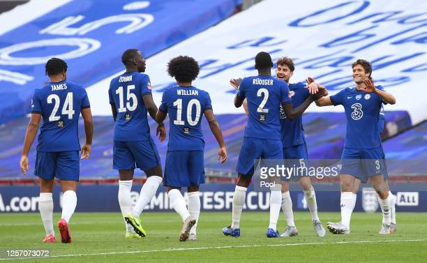 Antonio Rudiger of Chelsea celebrates with his team after Harry Maguire of Manchester United scores an own goal to lead to Chelsea third goal during...