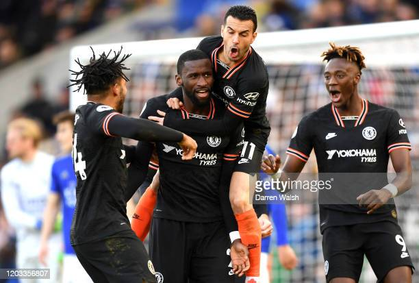 Antonio Rudiger of Chelsea celebrates with Reece James Pedro and Tammy Abraham after scoring his team's first goal during the Premier League match...