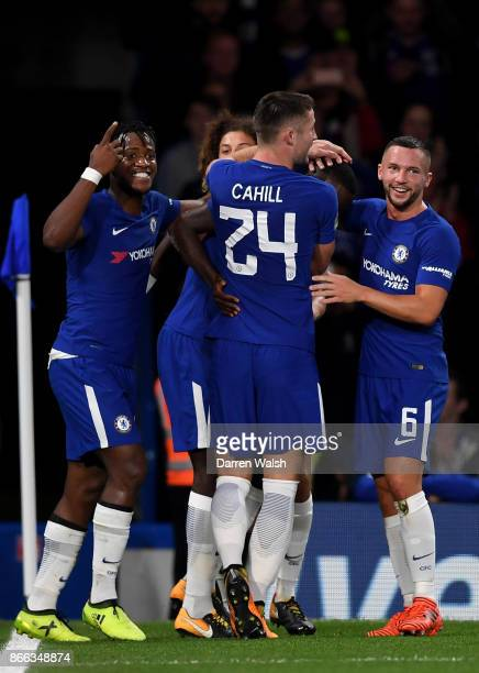 Antonio Rudiger of Chelsea celebrates with team mates after scoring his sides first goal during the Carabao Cup Fourth Round match between Chelsea...