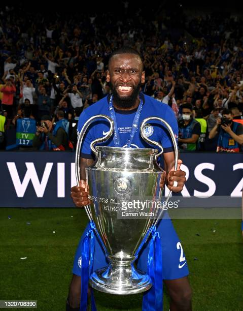Antonio Rudiger of Chelsea celebrates with the Champions League Trophy during the UEFA Champions League Final between Manchester City and Chelsea FC...
