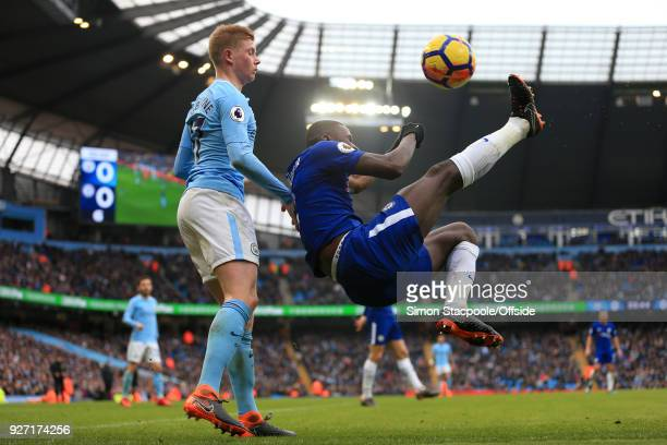 Antonio Rudiger of Chelsea clears with an overhead kick from Kevin De Bruyne of Man City during the Premier League match between Manchester City and...