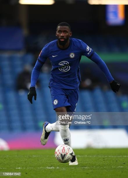 Antonio Rudiger of Chelsea controls the ball during the FA Cup Third Round match between Chelsea and Morecambe at Stamford Bridge on January 10, 2021...