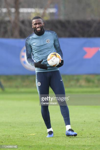 Antonio Rudiger of Chelsea during a training session at Chelsea Training Ground on February 13 2019 in Cobham England