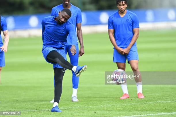 Antonio Rudiger of Chelsea during a training session at Chelsea Training Ground on August 6 2020 in Cobham England