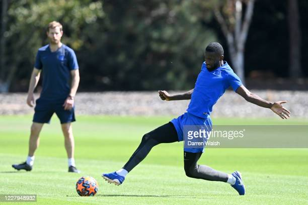 Antonio Rudiger of Chelsea during a training session at Chelsea Training Ground on August 7 2020 in Cobham England