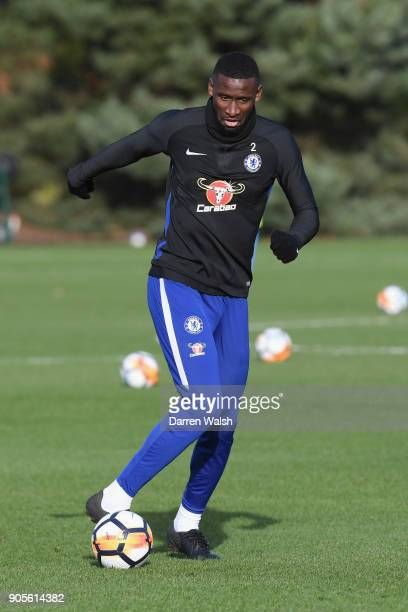 Antonio Rudiger of Chelsea during a training session at Chelsea Training Ground on January 16 2018 in Cobham England