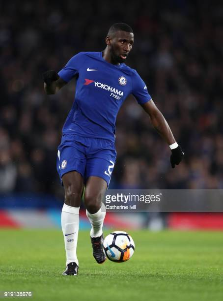 Antonio Rudiger of Chelsea during The Emirates FA Cup Fifth Round match between Chelsea and Hull City at Stamford Bridge on February 16 2018 in...