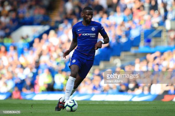 Antonio Rudiger of Chelsea during the Premier League match between Chelsea FC and Cardiff City at Stamford Bridge on September 15 2018 in London...
