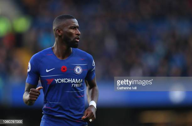 Antonio Rudiger of Chelsea during the Premier League match between Chelsea FC and Everton FC at Stamford Bridge on November 11 2018 in London United...