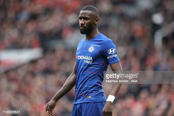 Antonio Rudiger of Chelsea during the Premier League match between Manchester United and Chelsea FC at Old Trafford on April 28 2019 in Manchester...
