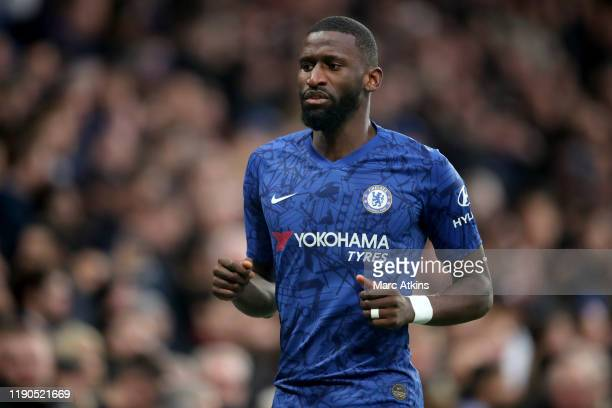 Antonio Rudiger of Chelsea during the Premier League match between Chelsea FC and Southampton FC at Stamford Bridge on December 26 2019 in London...