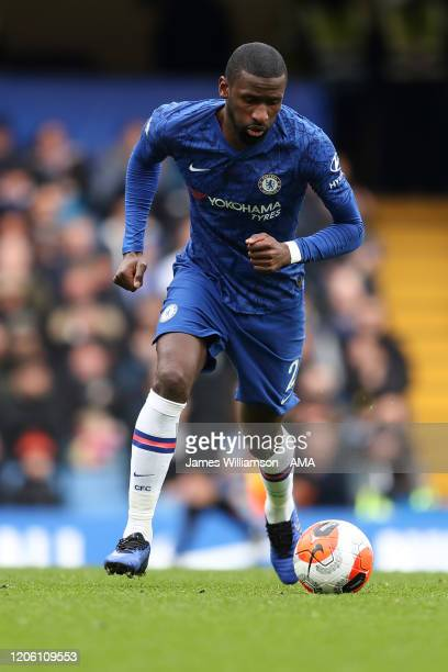 Antonio Rudiger of Chelsea during the Premier League match between Chelsea FC and Everton FC at Stamford Bridge on March 8 2020 in London United...