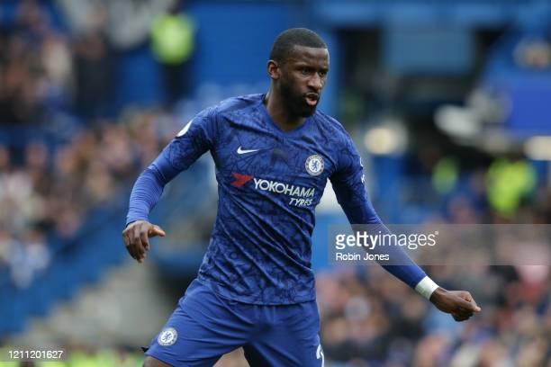 Antonio Rudiger of Chelsea during the Premier League match between Chelsea FC and Everton FC at Stamford Bridge on March 08 2020 in London United...