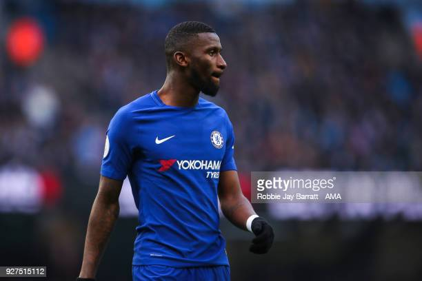 Antonio Rudiger of Chelsea during the Premier League match between Manchester City and Chelsea at Etihad Stadium on March 4 2018 in Manchester England