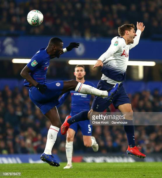 Antonio Rudiger of Chelsea FC and Fernando Llorente of Tottenham Hotspur during the Carabao Cup SemiFinal Second Leg match between Chelsea and...