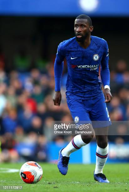Antonio Rudiger of Chelsea FC during the Premier League match between Chelsea FC and Everton FC at Stamford Bridge on March 08 2020 in London United...