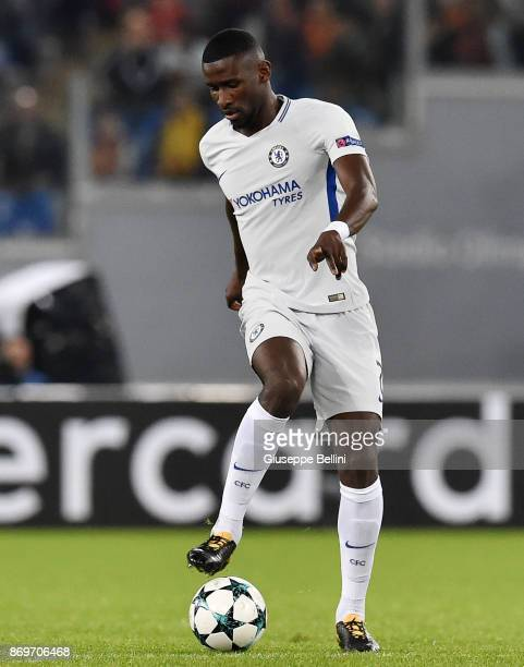 Antonio Rudiger of Chelsea FC in action during the UEFA Champions League group C match between AS Roma and Chelsea FC at Stadio Olimpico on October...