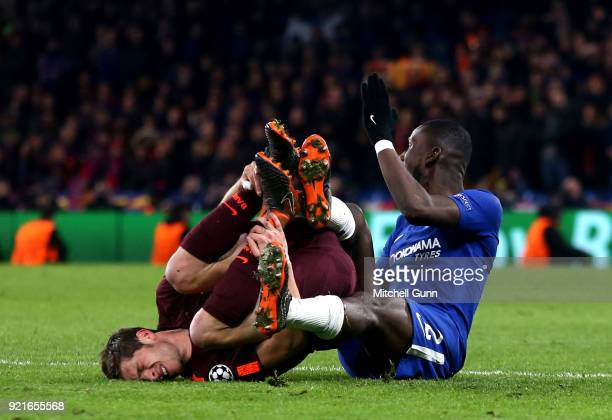 Antonio Rudiger of Chelsea fouls Sergi Roberto of Barcelona during the Champions League Round of 16 First Leg match between Chelsea FC and FC...