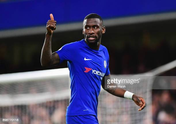 Antonio Rudiger of Chelsea gives a thumbs up during the Premier League match between Chelsea and Brighton and Hove Albion at Stamford Bridge on...