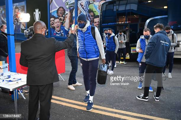 Antonio Rudiger of Chelsea has a temperature check as he arrives at the stadium prior to the Premier League match between Chelsea and Sheffield...