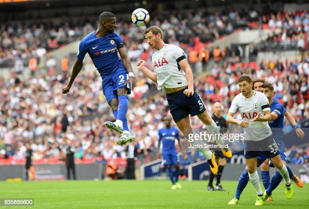 Antonio Rudiger of Chelsea heads towards goal during the Premier League match between Tottenham Hotspur and Chelsea at Wembley Stadium on August 20...