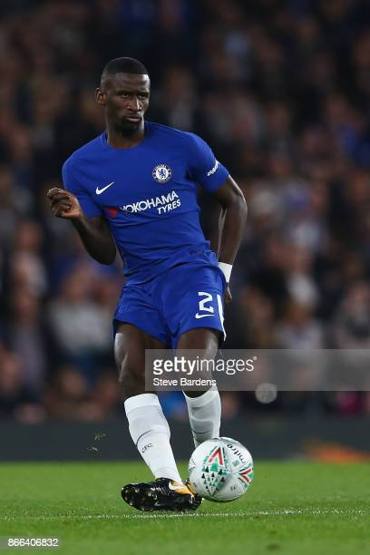 Antonio Rudiger of Chelsea in action during the Carabao Cup Fourth Round match between Chelsea and Everton at Stamford Bridge on October 25 2017 in...