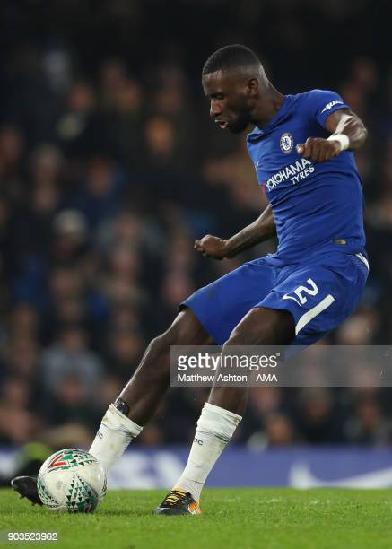 Antonio Rudiger of Chelsea in action during the Carabao Cup SemiFinal first leg match between Chelsea and Arsenal at Stamford Bridge on January 10...