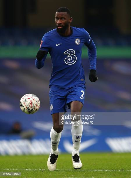 Antonio Rudiger of Chelsea in action during the FA Cup Third Round match between Chelsea and Morecambe at Stamford Bridge on January 10, 2021 in...
