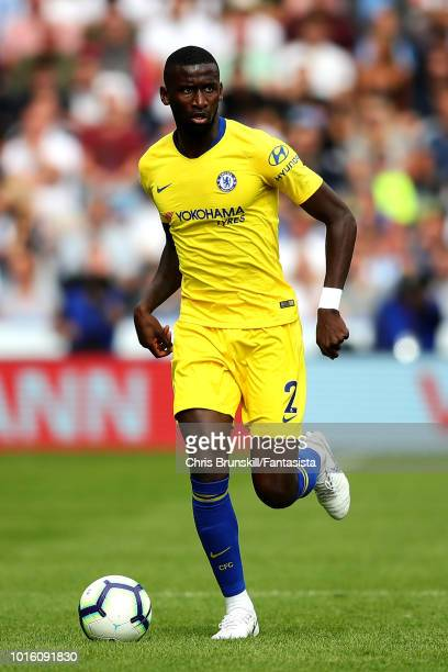 Antonio Rudiger of Chelsea in action during the Premier League match between Huddersfield Town and Chelsea FC at John Smith's Stadium on August 11...