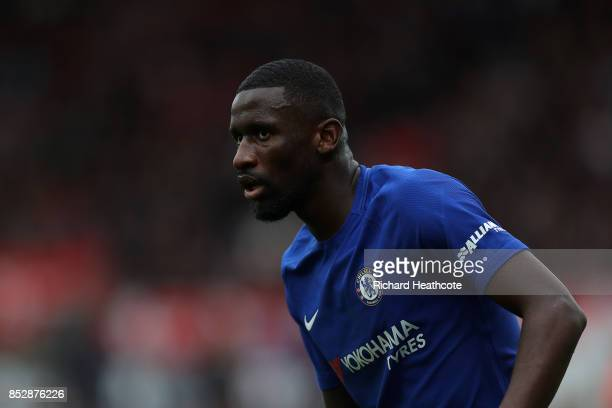 Antonio Rudiger of Chelsea in action during the Premier League match between Stoke City and Chelsea at Bet365 Stadium on September 23 2017 in Stoke...