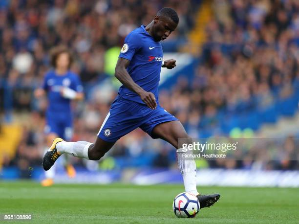 Antonio Rudiger of Chelsea in action during the Premier League match between Chelsea and Watford at Stamford Bridge on October 21 2017 in London...