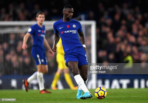 Antonio Rudiger of Chelsea in action during the Premier League match between Chelsea and Manchester United at Stamford Bridge on November 5 2017 in...