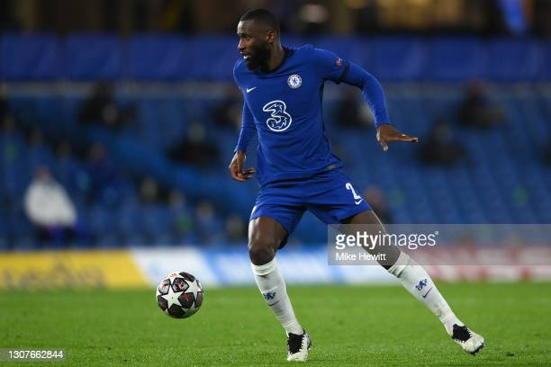 Antonio Rudiger of Chelsea in action during the UEFA Champions League Round of 16 match between Chelsea FC and Atletico Madrid at Stamford Bridge on...