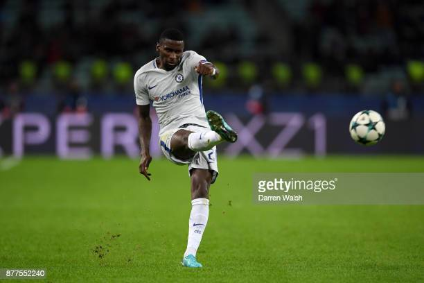 Antonio Rudiger of Chelsea in action during the UEFA Champions League group C match between Qarabag FK and Chelsea FC at Baki Olimpiya Stadionu on...