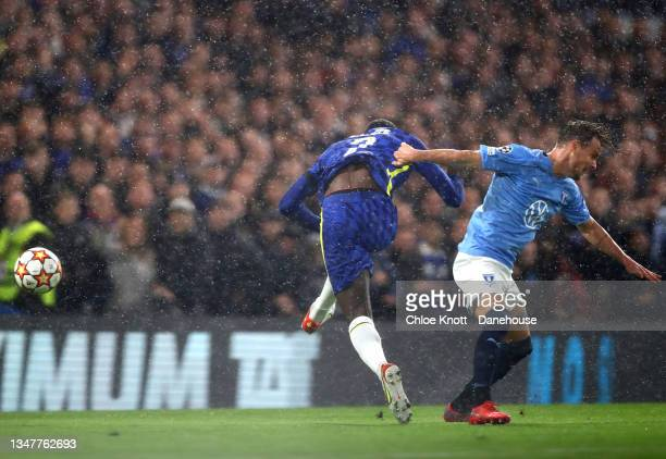 Antonio Rudiger of Chelsea is tackled by Eric Larsson of Malmo FF leading to a penalty decision for Chelsea during the UEFA Champions League group H...