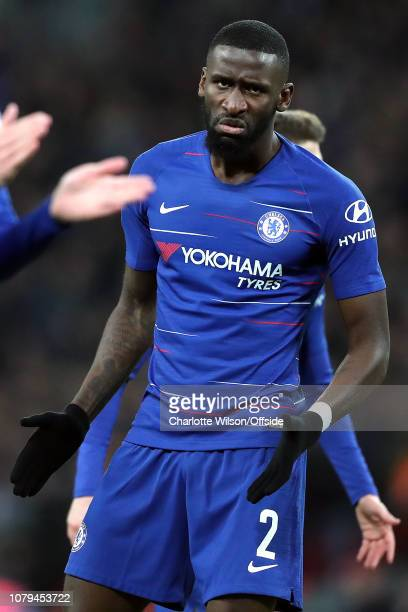 Antonio Rudiger of Chelsea looks angry and frustrated during the Carabao Cup SemiFinal First leg match between Tottenham Hotspur and Chelsea at...