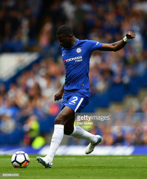 Antonio Rudiger of Chelsea looks for a pass during the Premier League match between Chelsea and Burnley at Stamford Bridge on August 12 2017 in...