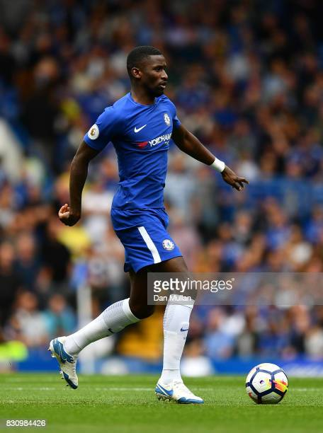 Antonio Rudiger of Chelsea looks for space during the Premier League match between Chelsea and Burnley at Stamford Bridge on August 12 2017 in London...