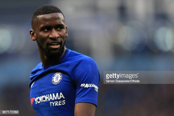 Antonio Rudiger of Chelsea looks on during the Premier League match between Manchester City and Chelsea at the Etihad Stadium on March 4 2018 in...