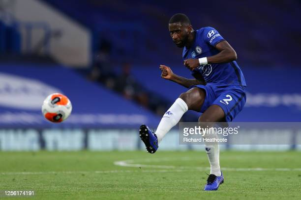 Antonio Rudiger of Chelsea on the ball during the Premier League match between Chelsea FC and Norwich City at Stamford Bridge on July 14 2020 in...