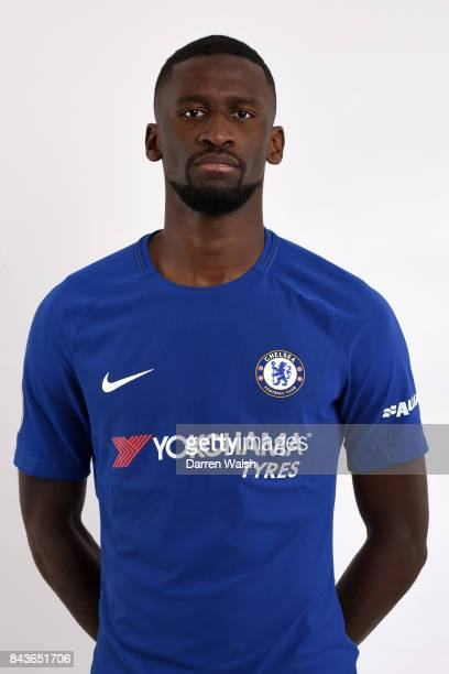 Antonio Rudiger of Chelsea poses during the Chelsea photo call at Chelsea Training Ground on August 8 2017 in Cobham England
