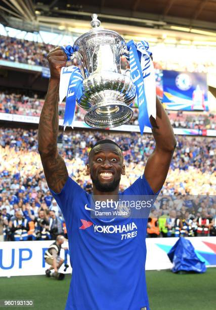 Antonio Rudiger of Chelsea poses with the Emirates FA Cup trophy following his side's win during The Emirates FA Cup Final between Chelsea and...