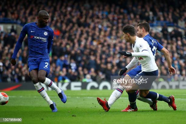 Antonio Rudiger of Chelsea scores an own goal during the Premier League match between Chelsea FC and Tottenham Hotspur at Stamford Bridge on February...