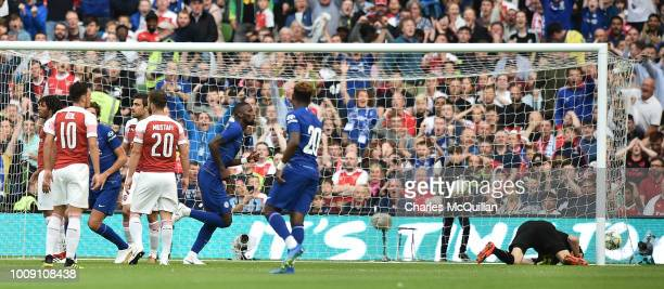 Antonio Rudiger of Chelsea scores during the Preseason friendly International Champions Cup game between Arsenal and Chelsea at Aviva stadium on...