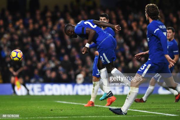 Antonio Rudiger of Chelsea scores his sides first goal during the Premier League match between Chelsea and Swansea City at Stamford Bridge on...